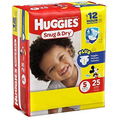 Huggies Baby Diapers, Snug &Amp; Dry, Size 5 (Over 27 Lbs), Case Of 4/25S (100 Ct)