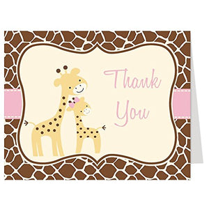 Giraffe Thank You Cards, Baby Shower, Pink, Animal Print, Mommy &Amp; Me, Birthday, Jungle, Safari, Zoo, Gentle Giraffe Theme, It'S A Girl, Brown, Folding Notes And Envelopes