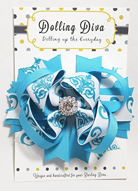 Dolling Diva Girls Boutique Hair Bows/Hair Clip (Aqua Flora)
