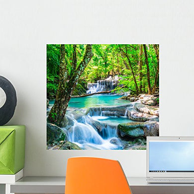 Wallmonkeys Cool Waterfall Forest Wall Mural Peel And Stick Graphic (18 In W X 17 In H) Wm363393