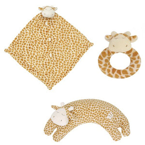 Angel Dear Blankie, Ring Rattle And Curved Pillow Set (Giraffe)