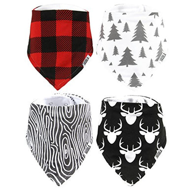 Stadela Baby Adjustable Bandana Drool Bibs For Drooling And Teething Nursery Burp Cloths Baby Shower Gift Set For Boys  Lumberjack Deer Animal Woodland Forest Wood Trees Buffalo Plaid