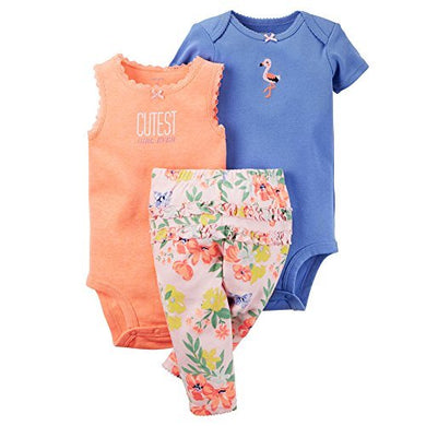 Carter'S Baby Girls' 3-Piece Bodysuit &Amp; Pants Set (Newborn, Pink Floral)