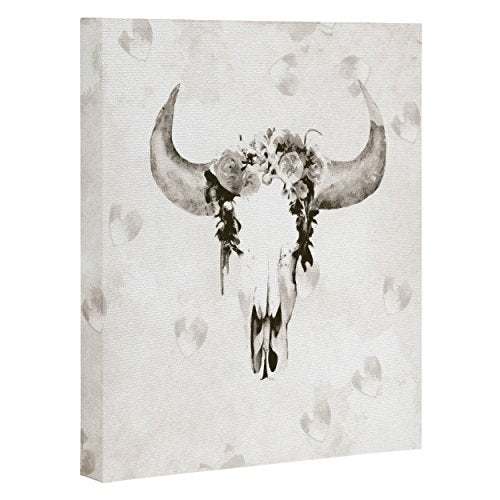 Deny Designs  Kangarui, Romantic Boho Buffalo Iii , Art Canvas , Large, 24  X 30