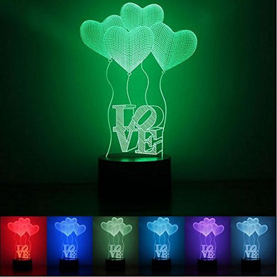 Jcare 3D Visual Four Love Heart Led Bulb Optical Illusion Colorful Led Table Lamp Touch Romantic Holiday Night Light Wedding Gifts Valentine'S Day Present Christmas Gift
