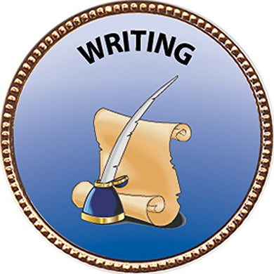 Writing Award, 1 Inch Dia Gold Pin  Special Knowledge Collection  By Keepsake Awards