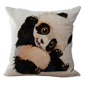 Vvluck Animal Printed Decorative Stuffed Cushion Square Shaped Pillow Case Hidden Zippered Cushion Cover Cotton Linen Throw Pillow Case For Teens Adult Home Office Decoration Cute Panda 18 X18