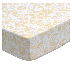 Sheetworld Fitted Cradle Sheet - Cream Damask - Made In Usa