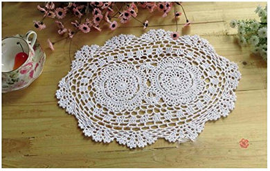 Wchuang Oval Handmade Crochet Cotton Lace Placemats Doilies 4Pc (9.8 13.8 , White)