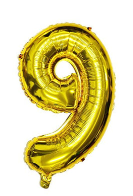 Langxun 32  Number 0-9 Thickening Gold Foil Digital Air-Filled/Helium Balloons For Birthday &Amp; Party &Amp; Wedding Anniversary (Digital 9 )