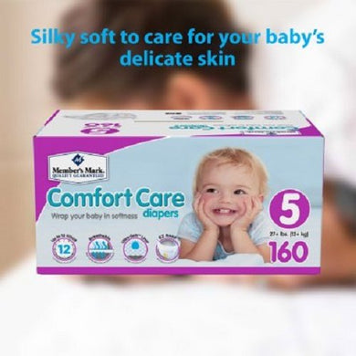 Member'S Mark Comfort Care Ultra-Soft Silkspun Hypoallergenic Disposable Baby Diapers (Choose Your Size) (Size 5 (160Ct))