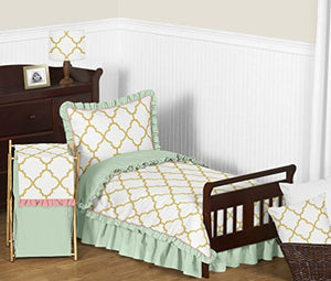 Ruffled Mint Coral White And Gold Trellis Girls Window Treatment Panels For Ava Bedding Collection - Set Of 2