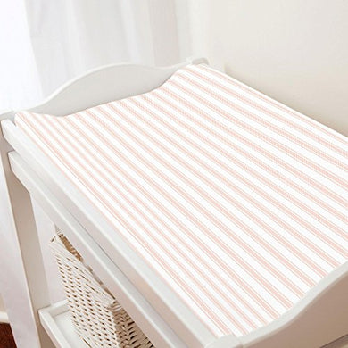 Carousel Designs Peach Ticking Stripe Changing Pad Cover - Organic 100% Cotton Change Pad Cover - Made In The Usa