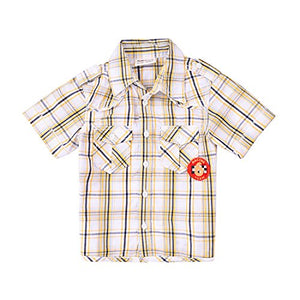 Momoland Baby Boys Plaid Button Down Shirt Yellow Short Sleeves (6-12M)