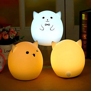 Umiwe Cute 3-Modes Silicone Led Kids Night Light,Usb Rechargeable Multicolor Children Night Lamp Gift For Girlfriend Adult Kids Baby Bedroom And Nursery (Style C)