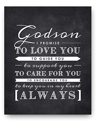 Godson Gift From Godparents, Godson Quote Sign, Perfect Christening Gift, Baptism Gift For Godson From Godmother Or Godfather, 8X10  Print By Ocean Drop Designs