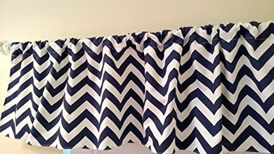 Navy Blue Chevron Valance Curtain, Baby Nursery Window Treatment. Blue And White Stripes. 54   Wide