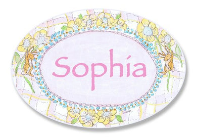 The Kids Room By Stupell Sophia, Bunnies Playing With Flowers Personalized Oval Wall Plaque