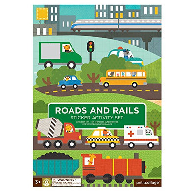 Petit Collage Sticker Activity Set, Roads &Amp; Rails