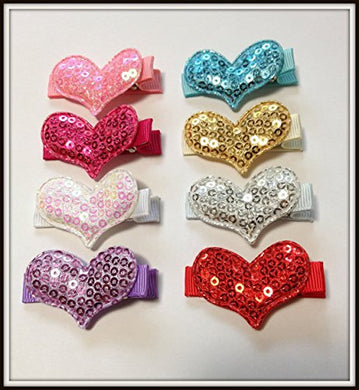 Best Seller Set Of 8 Sequin Padded Heart Hair Clips For Little Girls &Amp; Teens