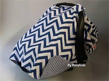 Load image into Gallery viewer, Rosy Kids Infant Carseat Canopy Cover 1Pc Wind Proof Baby Car Seat Cover, Sunshade Cover, Boys And Girls, Fits Any Baby Car Seat, Navy Blue Chevron
