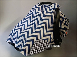 Rosy Kids Infant Carseat Canopy Cover 1Pc Wind Proof Baby Car Seat Cover, Sunshade Cover, Boys And Girls, Fits Any Baby Car Seat, Navy Blue Chevron