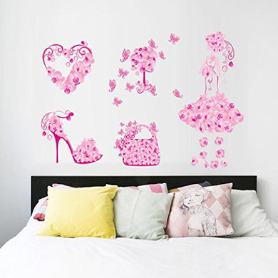 Wall Sticker, Hatop New Butterfly Flower Fairy Stickers Bedroom Living Room Walls (C)