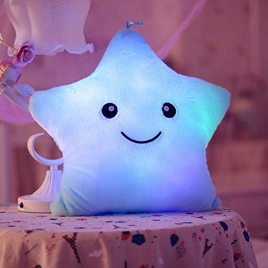 Colorful Star Luminous Pillow Led Luminous Pillow Lovely Pentagram Luminous Blue Color Stuffed Cartoon Soft Plush Toys,Great Birthday Gift Christmas Gift For Boys And Girls (13.8In)