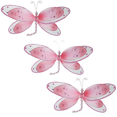 Hanging Dragonfly Decoration - Pink 11  X 5 , Set Of 3 - The Butterfly Grove - Nylon 3D Wall Ceiling Bedroom Nursery Room Wedding Birthday Party Decor
