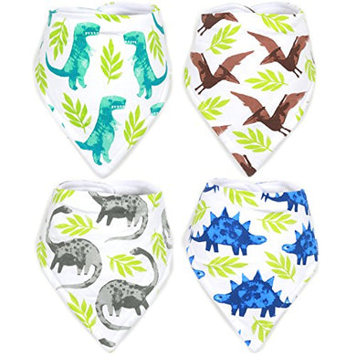 Stadela Baby Adjustable Bandana Drool Bibs For Drooling And Teething Nursery Burp Cloths Baby Shower Gift Set For Boys  Jurassic Adventure With Prehistoric Dinosaur