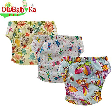 Ohbabyka Baby Training Diaper Pants,Baby Nappy Diapers Waterproof, 3Pcs Pack, Fit For 12-24 Month