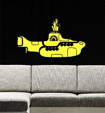 Yellow Submarine Wall Decals, 34 W By 19 H, Ocean Wall Decals, Sea Life Decals, Underwater Nursery, The Beatles, Submarine Wall Decals, Kids Decals Plus Free White Hello Door Decal With Purchase