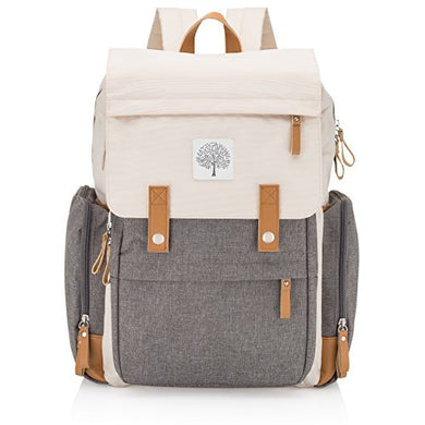 Parker Baby Diaper Backpack - Large Diaper Bag With Insulated Pockets, Stroller Straps And Changing Pad - Birch Bag  - Cream