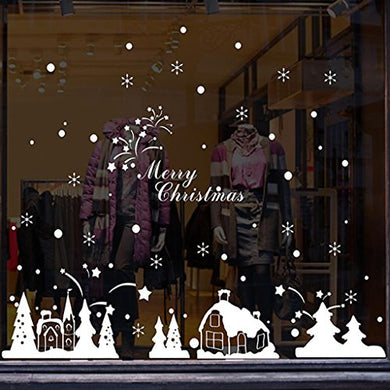 Hatop Christmas Shop Window Decoration Wall Stickers Christmas Snowflakes Town