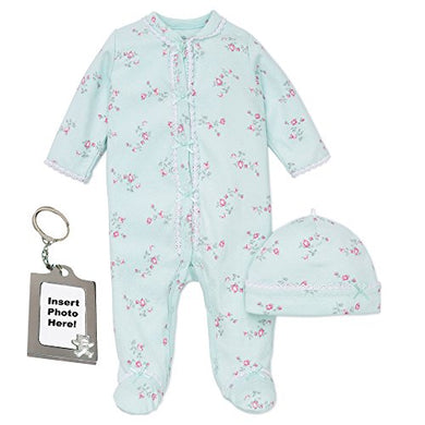 Little Me Girl Footie Footed Sleeper Sleep N Play Hat And Tether Mint Green 9M