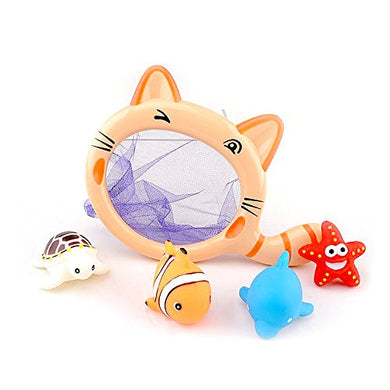 Catch Bath Time Fishing Set, Includes Four Floating Squirt Animals With Cat Net, Baby Bathtub Toys For Educating Baby From 1 Year Up