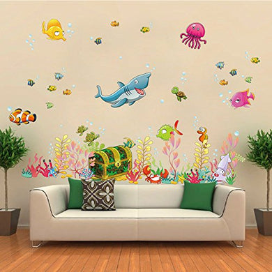 Wallpark Underwater World Treasure Box Cartoon Shark Jellyfish Fishes Removable Wall Sticker Decal, Children Kids Baby Home Room Nursery Diy Decorative Adhesive Art Wall Mural