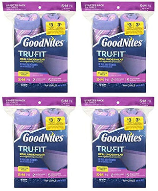 Goodnites Tru-Fit Real Underwear With Nighttime Protection Starter Pack For Girls, Small/Medium, 2 Underwear And 5 Disposable Inserts