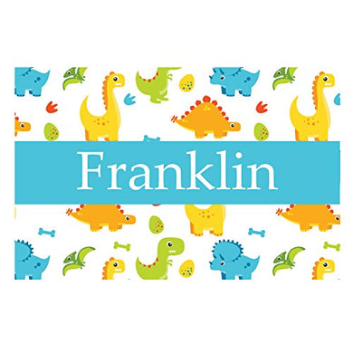 Blue And Gold Dinosaurs Personalized Placemat