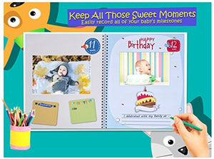 First Year Baby Memory Book. Keepsake Journal, Unisex Photo Album &Amp; Scrapbook + 12 Monthly Stickers For Boy &Amp; Girl. Perfect Shower Gift For New Parents