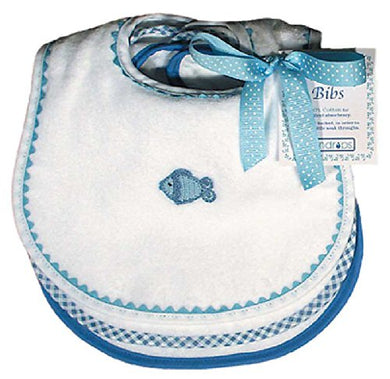 Raindrops Pastel Teething Bib Set, White/Blue