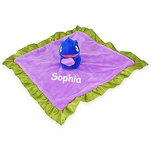Personalized Cloud B Peekaboo Purple And Blue Smiling Chameleon Plush Animal Lovie Baby Blanky Snuggle Blanket - 13 Inches