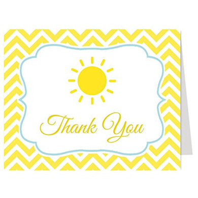 Thank You Cards, Sunshine, Baby Shower, Sprinkle, Ray Of Sun, Yellow, Chevron Stripes, Little Sun Shine, Boys, You Are My, 50 Folding Notes With White Envelopes, Spot Of Sunshine (Blue)