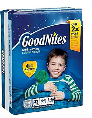 Goodnites Bedtime Pants Bedwetting Underwear For Boys, S-M 33 Count