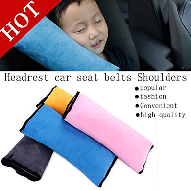 Seatbelt Travel Neck Support Pillow Soft Cover (Pink)