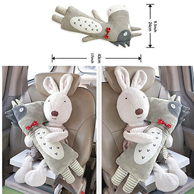 Cute Doll Car Seat Strap Belt Toy Cushion Cover For Kids Children, Auto Adjustable Pillow Pad Vehicle Car Safety Belt Toy Protect Shoulder Chest Child (Donkey)