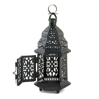 Black Bold Moroccan Style Lantern Tabletop Or Hanging Cutout Pattern