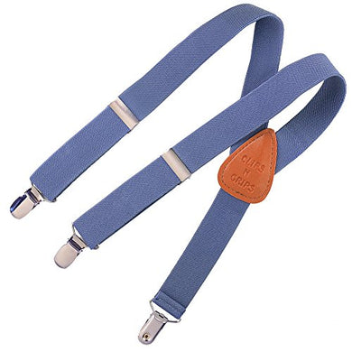 Clips N Grips Child Baby Toddler Kid Adjustable Elastic Suspenders Y Back Design, Chambray Denim, 26