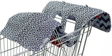 Extra-Large Easy-To-Use Blue Scallop Shopping Cart And High Chair Cover