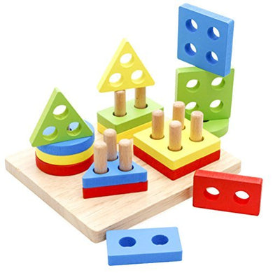 Toymytoy Wooden Geometric Blocks Building Stacker Shape Sorter Column Puzzle Stacking Set For Kids